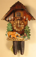 Rombach and Haas 8 Day Black Forest Horses Chalet Cuckoo Clock 8211