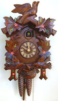 Schneider 1 Day Bird and Painted Leaf Cuckoo Clock - 96/10