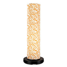 PatioGlo Electric Floor Lamp - White LED with Orange Outdoor Pattern Fabic Lamp Shade