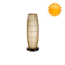 PatioGlo Solar Powered Floor Table Lamp - Color Changing LED with Bamboo Cover