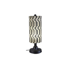 "Coronado 30"" Table Lamp - Black Base with New Twist Caviar Outdoor Pattern Fabric Lamp Shade"