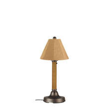 "Bahama Weave 30"" Table Lamp - Mocha Cream Wicker Body with Linen Straw Sunbrella Fabric Lamp Shade"