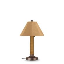 "Bahama Weave 34"" Table Lamp -  Mocha Cream 3"" Wicker Body with Linen Straw Sunbrella Fabric Lamp Shade"