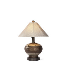 Phoenix Table Lamp - Bronze Base with Silver Linen Canvas Sunbrella Fabric Lamp Shade