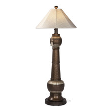 Phoenix Floor Lamp - Bronze Base with Silver Linen Canvas Sunbrella Fabric Lamp Shade