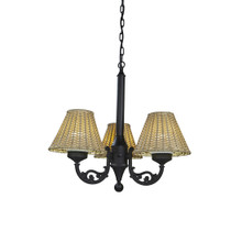 Versailles Chandelier - Black Base with Stone Wicker Lamp Shades