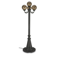 European Four Globe Park Style Patio Lamp - Bronze Globes with Black Base