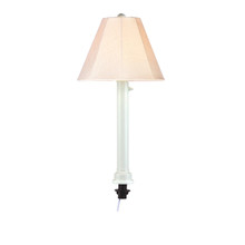 Umbrella Table Lamp - White Body with Antique Beige Linen Sunbrella Fabric Lamp Shade