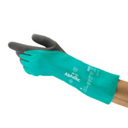 Ansell - Gloves - Size 7 Green Sol-Vex 13' Unlined 11 Mil Nitrile Glove with Sandpatch Finish and Straight Cuff