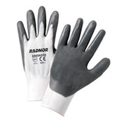 Radnor - Gloves - Large White Nitrile Coated Nylon Gloves with 13 Gauge Nylon Knit Liner and Knit Wrists