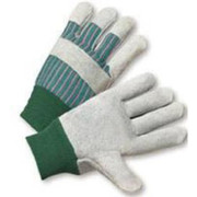 Radnor - Gloves - Large Standard Split Cowhide Leather Palm Gloves with Knit Wrist, Striped Canvas Back and Reinforced Knucke Strap