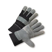Radnor - Gloves - Large Economy Grade Split Leather Palm Gloves with Safety Cuff, Denim Back and Leather Palm Patch, Reinforced Knuckle Strap, Pull Tab, Index Finger and Fingertips