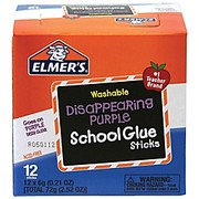 Elmer's - Glue Sticks - Fabric - 12 / Box - Purple Washable Disappearing Purple School Glue Sticks, 0.21 Oz., Pack of 12
