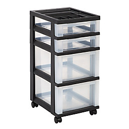 Office Depot   File Storage Box   4 Drawers, 26 7/16inh X 12 1/16inw X 14  1/4ind, Black   Plastic Storage And Organization Carts