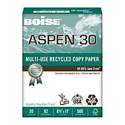 Boise - Copy Paper - ASPEN Multipurpose Paper, 8 1/2' X 11in, 92 Brightness, 20 Lb, 30% Recycled, White, Ream of 500 Sheets - ASPEN Multipurpose Paper
