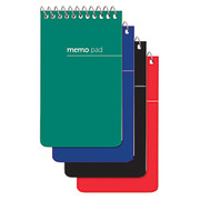 Office Depot - Notepad - Wirebound Top-Opening Memo Books, 3in X 5in, 1 Hole-Punched, College Ruled, 60 Sheets, Assorted Colors (No Color Choice), Pack of 3  - Office Depot Brand Wirebound Memo Books