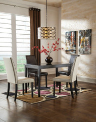 Kimonte Dark Brown 5 Pc. Rectangular Dining Table, 2 Ivory Upholstered Side Chairs & 2 Brown Upholstered Side Chairs