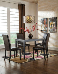 Kimonte Dark Brown 5 Pc. Rectangular Dining Table & 4 Upholstered Side Chairs