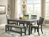 Tyler Creek Black/Gray 6 Pc. Rectangular Dining Room Table, 4 Upholstered Side Chairs & Upholstered Bench