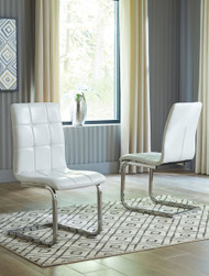 Madanere White/Chrome Finish Dining Upholstered Side Chair (Set of 2)