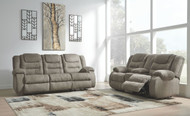 Segburg Cobblestone Reclining Sofa & DBL Reclining Loveseat with Console