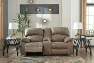 Dunwell Driftwood Power Reclining Loveseat/Console with Adjustable Headrest