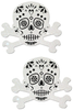 Shop these fun and festive white glitter skull and crossbones nipple cover pasties that feature a durable no-mess glitter with latex-free adhesive nipple pasties!