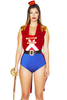 Shop this women's sexy nutcracker costume featuring a red sleeveless coat with crisscross two-tone romper and black belt