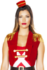 Shop women's sexy nutcracker costume featuring a white crisscross romper with red top and blue bottoms with black belt and red velvet coat