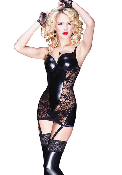 Darque Womens Black Rubber Look And Lace Corset Dress Nyteez