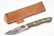Lon Humphrey Vanguard Green Canvas Micarta - Scandi Ground #5