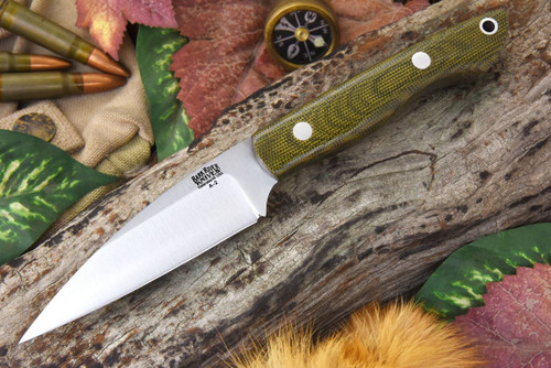 Bark River Mini Bush Seax Green Canvas Micarta