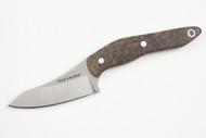 True Saber N2 20CV Neck Knife - Stabalized Ash Burl - Dark #2