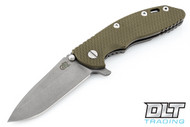 "Hinderer 3.5"" XM-18 No Choil Spanto M390 - Working Finish - OD Green G-10"