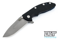 "Hinderer 3.5"" XM-18 No Choil Spanto M390 - Working Finish Blade - Battle Blue - Black G-10"