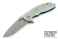 "Hinderer 3.5"" XM-18 No Choil Spanto M390 - Working Finish Blade - Battle Blue - Translucent Green G-10"
