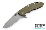 "Hinderer 3.5"" XM-18 No Choil Spanto M390 - Working Finish Blade - Battle Bronze - OD Green G-10"