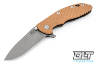 "Hinderer 3.5"" XM-18 No Choil Spanto M390 - Working Finish Blade - Battle Bronze - Coyote G-10"