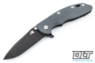 "Hinderer 3.5"" XM-18 No Choil Spanto M390 - Battle Black DLC - Grey G-10"