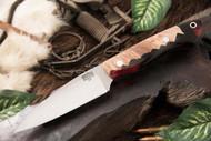 Bark River Bush Seax Bantam Natural Maple Burl - Red & Black Acrylic Hybrid #2