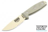 ESEE 3S - Partially Serrated - Grean Sheath - Desert Tan Blade