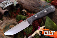 Bravo 1 CPM M4 Black Canvas Micarta - Matte Finish - Rampless