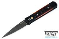Pro-Tech Godfather Automatic - Black Handle - Amber Jigged Bone Inlay - Chad Nichols Damascus Blade