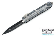 Microtech 122-1CL Ultratech D/E - Clear Top - Contoured - Two-Tone Black Blade