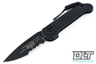 Microtech 135-2T LUDT Tactical - Black Handle - Black Blade - Partially Serrated - Aluminum - Bounty Hunter Finish