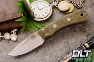 Essential CPM-154 - No Bolster - Green Canvas Micarta - Matte Finish