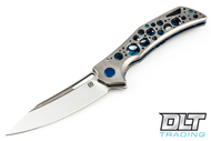 Olamic Cutlery Swish - Satin Blade - Blue Hardware - Acid Rain Handle