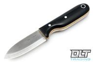 LT Wright Bushbaby A2 - Scandi - Black Micarta - Snakeskin Liners - Matte