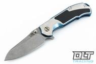 Hinderer MP-1 - Blue & Silver Titanium - Carbon Fiber Inlay