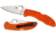 Spyderco Delica 4  - Orange Flat Ground
